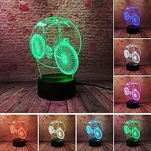 61MDmganngL. SS300 Cool Luminaria 3D Bicicletta Da Tavolo Led Luci Notturne Bici 7 Cambio Colore Bambini Comodino Decor Festa Per Il Compleanno Regali Dropshipping