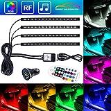 Auto Atmosphäre Licht Sparke Innenbeleuchtung Auto 4×12 Lichtleiste Mehrfarbliche USB LED Streifen Leuchte Innenraumbeleuchtung Auto Lichtleiste mit Fernbedienung und KFZ Ladegerät DC 12V