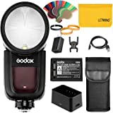 Godox V1S V1-S Flash Speedlight Redondo 1/8000 HSS 76Ws GN92 2.4G TTL y 2600 mAh Lithimu Battery + Godox AK-R1 Accessory Kit