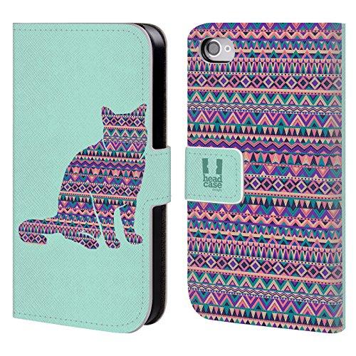 Head Case Designs Elefant Gemustert Tiere Silhouettes Brieftasche Handyhülle aus Leder für Apple iPhone 4 / 4S Katze