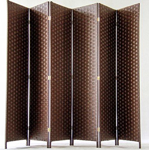 PEGANE Biombo de Fibras Naturales de 6 Paneles, Color marrón Oscuro -