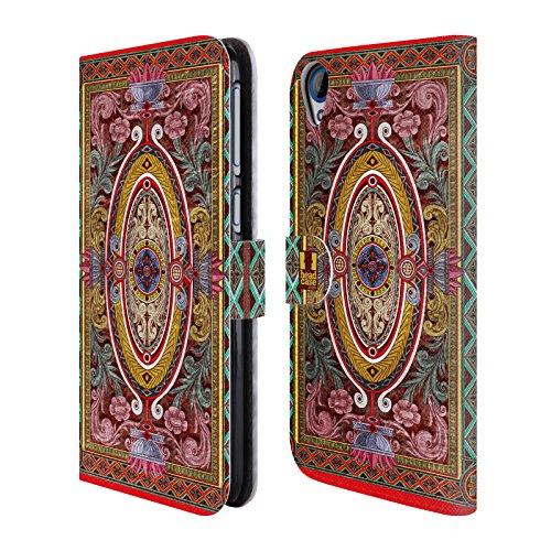 Head Case Designs Barock Arabeske Muster Brieftasche Handyhülle aus Leder für HTC Desire 820