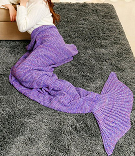 Mermaid Tail Blanket - L'All Seasons Maglia Coperta, Sacco a Pelo, Aria Condizionata Quilt, 180 * 90 cm(Viloa)