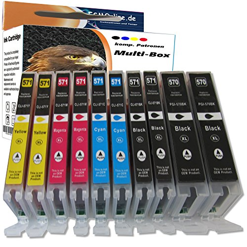 Multipack 10 komp. Druckerpatronen Hohe Kapazität für Canon PGI-570 CLI-571 Canon Pixma MG 5700 5750 5751 5752 5753 6800 6850 6851 6852 6853 7700 7750 7751 7752 7753 / 2 x schwarz 2 x photoschwarz 2 x cyan 2 x magenta 2 x yellow