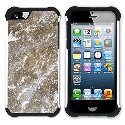 Graphic4You Grün Marmor Muster Stone Design Hart + Weiche Kratzfeste Hülle Case Schale Tasche Schutzhülle für Apple iPhone SE / 5 / 5S Design #14