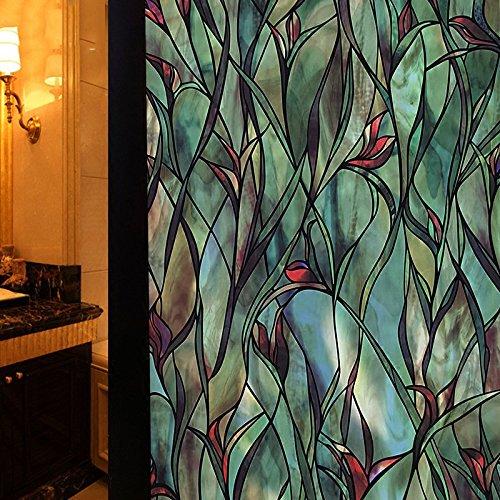 Pflanze blume fensteraufkleber,Fenster papier für amerikanische land bad glas aufkleber blackout aufkleber fenster glas wandsticker licht undurchsichtig aufkleber-E 70x100cm(28x39inch) (Land-wand-dekor-aufkleber)