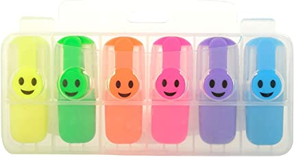 Mini Emoji HIGHLIGHTERS in 6 Colors for Kids OR Office USE - Ideal for Return Gift Option