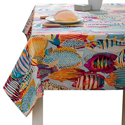 YOUJIA Rectangulaire Nappe de table Style Moderne Marine Anti-tâche Housses Linge de table Pour Fête Café Hôtel (Marine Orange, 140*240cm)