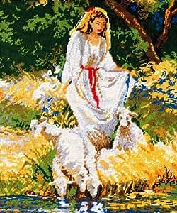 """Kamaca Kit de broderie sur toile de tapissier Set complet Motif """"femme au lac avec des moutons"""" 50 x 60 cm"""