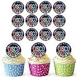 Disco Boden 24 Personalisierte Vorgeschnittene Kreise - Essbare Cupcake Aufleger / Geburtstagskuchen Dekorationen
