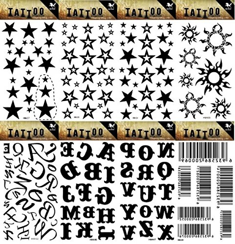 Spestyle 8pcs different look like real fake tattoo stickers design in 1pacchetto, it inclusi 26lettere inglese, stelle, soli e barcode tattoo stickers
