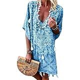 Minetom Vestito Donna Estivo Scollo A V Manica Corta Abiti da Spiaggia Vestiti Spiaggia Ragazza Loose Floral Abito Cocktail