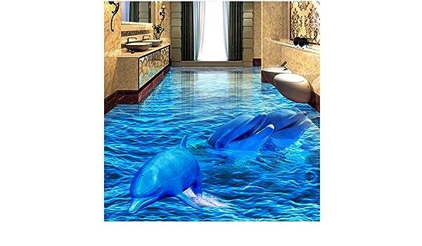Lhdlily 3d pavimento pvc sfondo mare delfini 3d bagno soggiorno