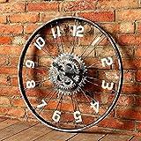 SJMM 60*60cm Retro große Fahrrad Rad Wand Wanduhr Creative Industrial Wind Bar Cafe Bügeleisen Dekorationen