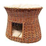 2-81-5 Ovale Katzenhöhle aus Weide von GalaDis. Mit zwei Kissen. Ein Katzenkorb für Ihre Katze zum Ruhen und Spielen. (Wendekissen)) - 3