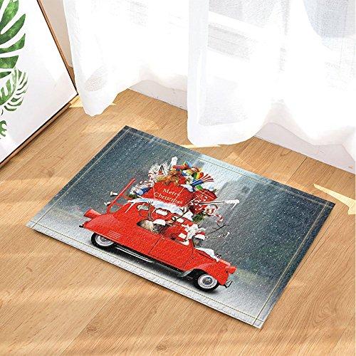 (cdhbh Kinder Love Christmas Decor Santa Claus mit Rentier im Auto mit Geschenken Bad Teppiche rutschhemmend Fußmatte Boden Eingänge Innen vorne Fußmatte Kinder Badematte 39,9x 59,9cm Badezimmer Zubehör)