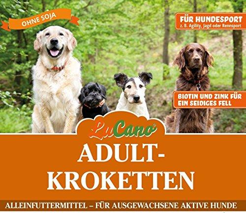 LuCano 5 kg Adult Premium-Krokette Soja frei/mit Biotin und Zink für sein seidiges Fell/für aktive Hunde