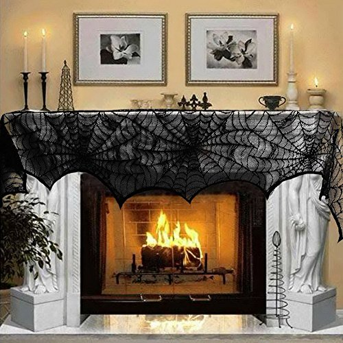 Black Lace Spider Web Halloween Decoration