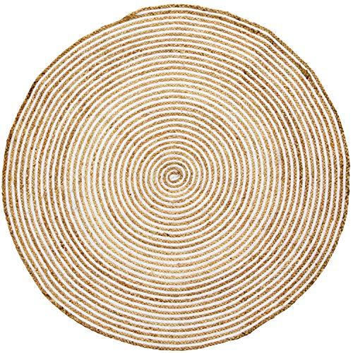 Handgewebter runder Jute Teppich 150 cm groß Rocio | Outdoor Teppiche Rund geflochten für Garten oder Balkon | Indoor im Wohnzimmer Kinderzimmer | Mediterrane Deko für Ihre Wohnung - Jute-teppich Oval