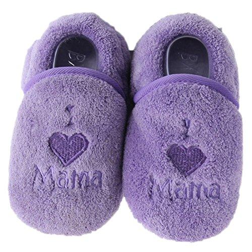 Dantiya Schuhe für 0-18 Monate Baby, Winter-weich Sohle Krippe Warm Knopf Wohnungen Cotton Boot-KLEINKIND prewalker Schuhe (12cm (6-12 Monat), Braun) Lila