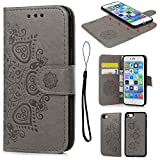 iPhone 7 Case Leather Wallet Embossed Mandala Florals Design PU Leather Flip Case Detachable TPU Cover Magnetic Wallet with Card Slots & Wrist Strap Case for iPhone 7 4.7 inch - Gray