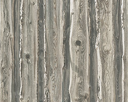 A.S. Création Papiertapete Dekora Natur Ökotapete Tapete in Dielen Optik 10,05 m x 0,53 m beige braun grau Made in Germany 958372 95837-2