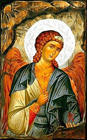 Handmade Greek Christian Orthodox Wood Icon of Archangel Michael On