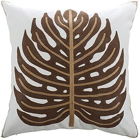 borlans decorativo federa per cuscino quadrato cuscino ricamato copre per divano 45,7x 45,7cm, Brown Coconut Leaf, 18