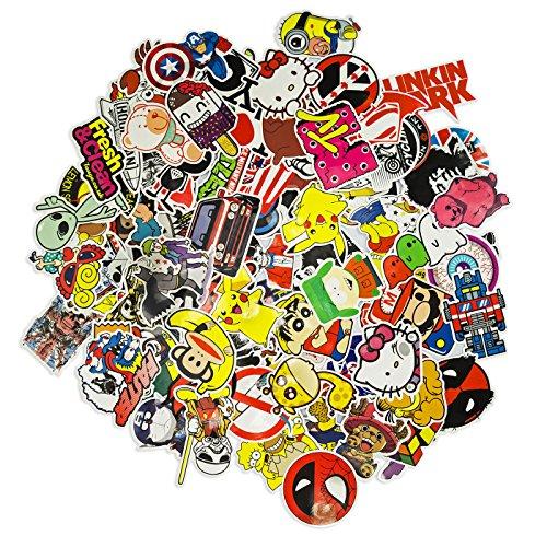 100 Aufkleber / Sticker - Retro-, Graffiti- Style, Reisen, Marken für Skateboard, Snowboard, Koffer, Notebook, Auto, Fahrrad & uvm. - Auto-Dress® (Set-4)