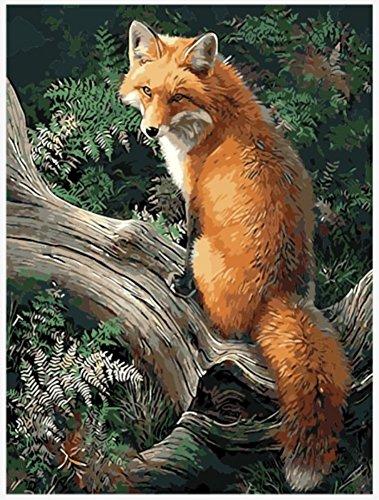 ach Zahlen Kits Geschenk für Erwachsene Kinder, Malen nach Zahlen Home Haus Dekor - Wald Fuchs 16 x 20 cm ohne Rahmen ()