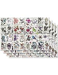 Com-Four 32x Feuilles de tatouage avec 891Tatouages pour fille avec motifs différents
