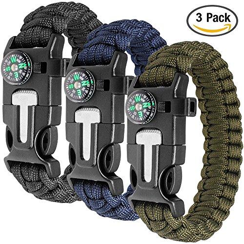Paracord braccialetto set contiene 3 per la sopravvivenza all\'aperto, maxin 9 pollici Survival Kit completo con bussola incorporata, Starter di fuoco, emergenza coltello & Whistle.