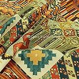 Kelim Azteken Muster Patchwork Velours Samt bedruckt