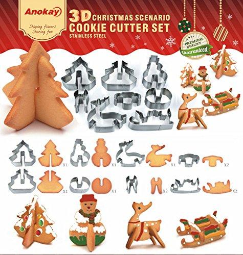 ausstecher Weihnachten Ausstechformen Edelstahl Weihnachtsbaum Schneemann Rentier Schlitten Cookies Toast Cutter Dekoration Modellierwerkzeug Deko Stempel Set (Schneemann Weihnachten)