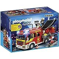 Playmobil Bomberos Fire Engine with Lights and Sound Camión Bombero con luz y Sonido, City,, 35.1 x 25.1 x 15.2 (5363)
