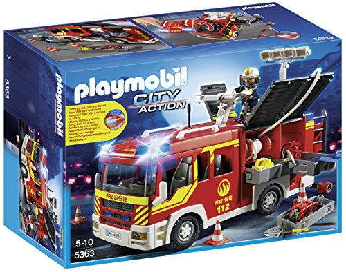 Playmobil Bomberos- Fire Engine with Lights and Sound Camión Bombero con luz y Sonido, City,, 35.1 x 25.1 x 15.2 (5363)