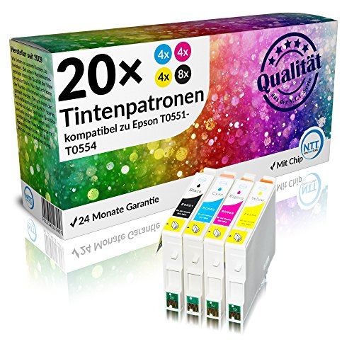 N.T.T.® 20 Stück XL 100% Qualität Druckerpatronen Tintenpatronen Tinte für Epson R240 R245 RX420 RX425 RX520 R 240 R 245 RX 420 RX 425 RX 520 Sie erhalten: 8x 551 (schwarz), 4x 552 (cyan), 4x 553 (magenta),4x 554 (yellow) **SPARSET** - Premium Qualität -