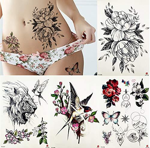 Yyydl autoadesivo del tatuaggio temporaneo fiore fiore di peonia rose saturna flora body art braccio tatuaggi vita farfalla finto tatuaggio 21 * 15 cm 4 pezzi