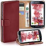 Samsung Galaxy S4 Mini Hülle Rot mit Kartenfach [OneFlow Wallet Cover] Handytasche Flip-Case Handyhülle Etui Kunst-Leder Tasche für Samsung Galaxy S4 Mini Case Book Schutzhülle