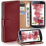 moex Samsung Galaxy S4 | Hülle Dunkel-Rot mit Karten-Fach 360° Book Klapp-Hülle Handytasche Kunst-Leder Handyhülle für Samsung Galaxy S4 / S IV Case Flip Cover Schutzhülle Tasche