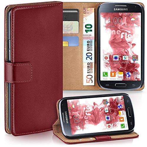 Cover Samsung S4 Rot Flip (Samsung Galaxy S4 Hülle Dunkel-Rot mit Karten-Fach [OneFlow 360° Book Klapp-Hülle] Handytasche Kunst-Leder Handyhülle für Samsung Galaxy S4 / S IV Case Flip Cover Schutzhülle Tasche)