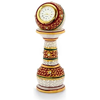 Little India Gold Painted Meenakari Work Marble Pillar Watch (White)