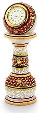 Little India Gold Painted Meenakari Work Marble Pillar Watch (White)