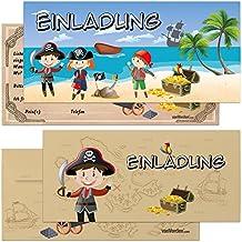 6er/12er Kartenset Piraten Schatzkarte Inkl. Umschläge / Kindergeburtstag  Einladungskarten Für Die Geburtstag Party