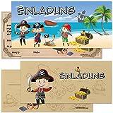 6er/12er Kartenset Piraten Schatzkarte inkl. Umschläge / Kindergeburtstag Einladungskarten für die Geburtstag Party / ideal für Jungen / vanVerden®, Anzahl:6 Stück/Set
