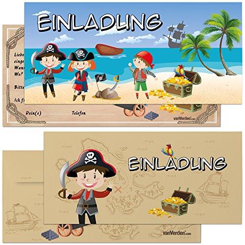 vanVerden - Piraten Einladungskarten mit Umschlag - 9er Set Geburtstags-Einladungen - Piraten-Party Einladung