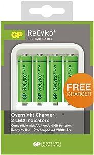 GP Batteries GPPB420 Pil Şarj Cihazı  ve Recyko+ 4 Adet 2700 AA Kalem Pilli Set, Beyaz/Yeşil/Siyah