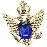 Y Cosecha De Oro Azul De Lujo De La Reina De La Corona Doble Broche De Aguila Camisa Corbata