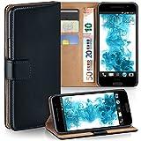 moex HTC One A9 | Hülle Schwarz mit Karten-Fach 360° Book Klapp-Hülle Handytasche Kunst-Leder Handyhülle für HTC One A9 Case Flip Cover Schutzhülle Tasche