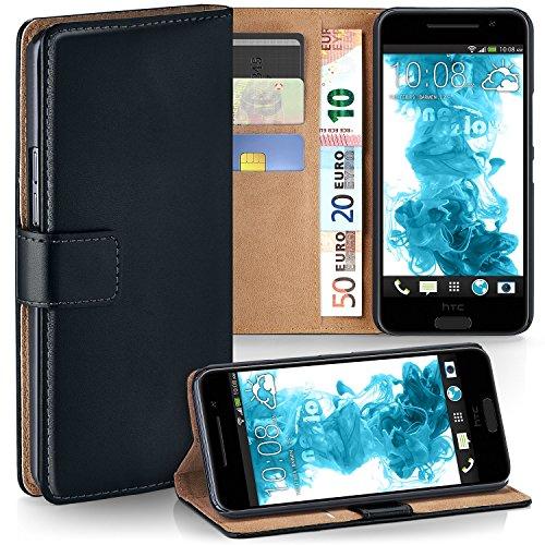 MoEx HTC One A9 | Hülle Schwarz mit Karten-Fach [OneFlow 360° Book Klapp-Hülle] Handytasche Kunst-Leder Handyhülle für HTC One A9 Case Flip Cover Schutzhülle Tasche